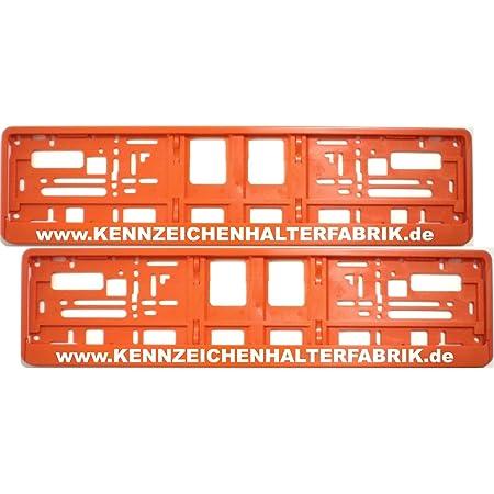 Satz 2 Stück Kennzeichenhalter Orange Mit Individuellem Wunschtext PremiumqualitÄt Werbung Text Spruch Beschriftung Personalisiert Garten