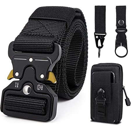 Men Tactical Belt, 1.5 Inch Military Style Heavy Duty Nylon Belts with Quick-Release Metal Buckle, Work Belt Gift with Tactical Molle Pouch and Hook for Army Hunting.