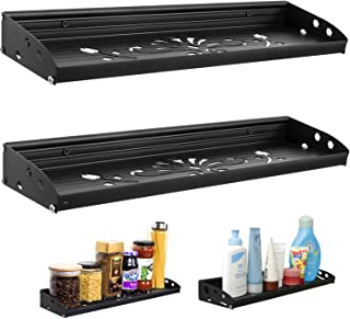 Spice Rack Organizer for Cabinet/Pantry Rustic, Aluminium Floating Shelf Wall Mounted for Kitchen, Bathroom Countertop Shower Storage Hanging, Set of 2 Black