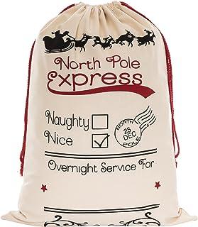 WeiVan Santa Sack for Kids on Christmas Day 27x19.7inch Santa Claus Bag Canvas Holiday Bag Beige