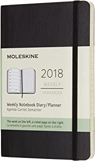 Moleskine Agenda semanal 2018, 12 meses, tapa blanda, de bolsillo, color negro