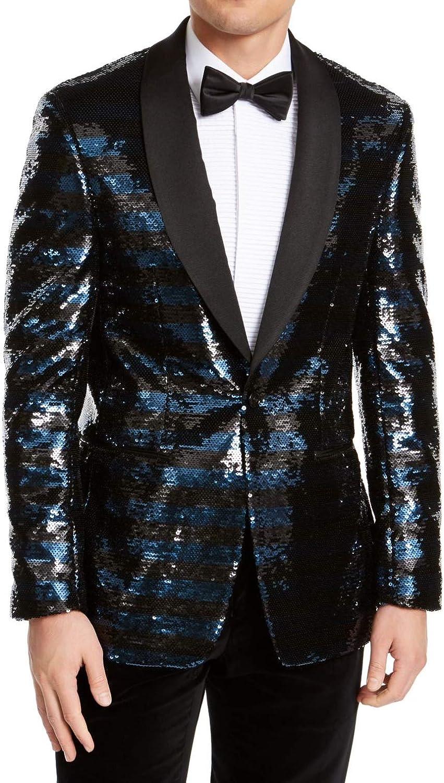 Tallia Mens Blazer Short Slim-Fit Striped Sequined Black 42