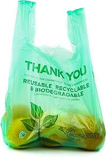 1/6 尺寸 可生物降解可重复使用的塑料 T 恤袋 环保可堆肥杂货 感谢回收垃圾回收购物袋 - 100 包