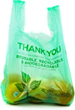 [100 Packs] 1/6 Size Biodegradable Reusable Plastic T-Shirt Bag Eco Friendly Compostable Grocery Shopping Thank You Recycl...