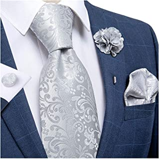 DiBanGu Silk Tie Woven Handkerchief Men's Necktie and Lapel Pin Brooch Set Paisley Plaid Solid Floral