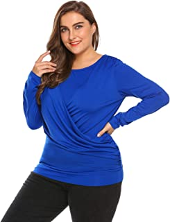 IN'VOLAND Women's Plus Size Wrap Top Long Sleeve Pleated Blouse Tops Ruched Blouse Shirt