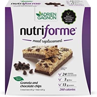 Adrien Gagnon – Sante Granola and Chocolate Chip Nutriforme Bars, 5 Bars, Meal Replacement Bar with Fiber, Carbs, and Prot...
