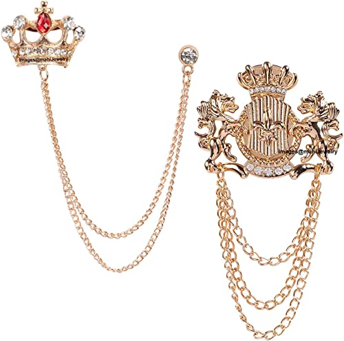 Rose Gold Plated Combo of Crown and Unicorn Chain Brooch with Crystals CO1105082Z
