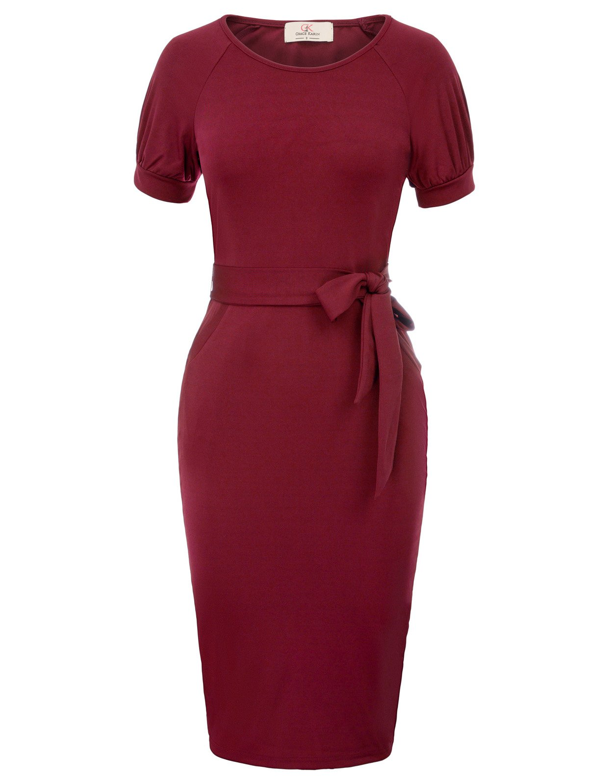 Available at Amazon: GRACE KARIN Women Business Short Sleeve Bodycon Cocktail Pencil Dress with Belt