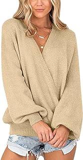 Lookbook Store Women's Knit Long Sleeve Faux Wrap Surplice V Neck Sweater Top