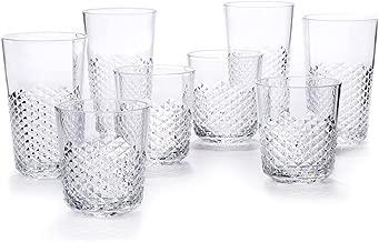 Cupture Diamond Plastic Tumblers BPA Free, 24 oz/14 oz, 8-Pack (Clear)