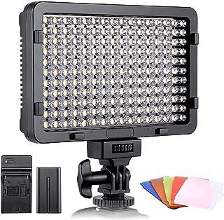 comprar comparacion ESDDI - Luz de vídeo LED para cámaras réflex Digitales (176 LED, Intensidad Regulable, 3200-5600 K, 5 filtros de Color, CR...