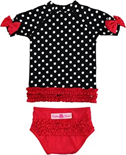 Baby/Toddler Girls Rash Guard Short Sleeve 2-Piece Swimsuit Set - Polka Dot Bikini with UPF 50+ Sun Protection