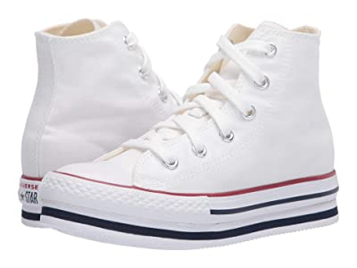 Converse Kids Chuck Taylor(r) All Star(r) Platform EVA HI (Little Kid/Big Kid) (White/Midnght Navy/Garnet) Girl