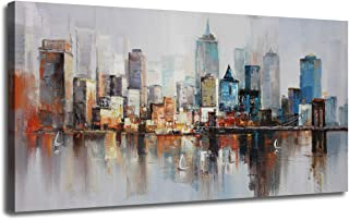 Canvas Wall Art Prints Modern Abstract Cityscape Brooklyn Bridge Painting Stretched and Framed Modern Colorful New York Skyline Buildings Picture for Home Office Decor 40