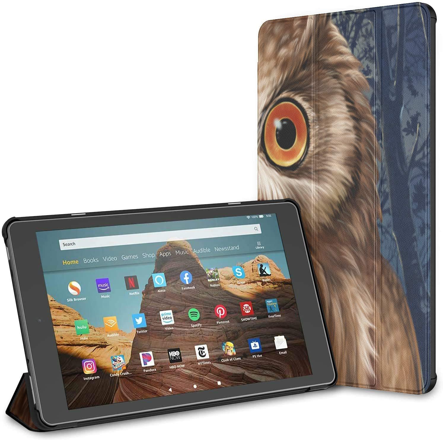 Estuche para Tableta Art Grey Natural Bird Owl Pintura al óleo Fire HD 10 (9.a /