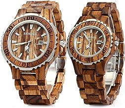 Bewell ZS-100B Couple Wooden Quartz Watch Men and Women Handmade Lightweight Date Display Fashion Watches