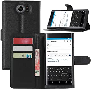 Fettion BlackBerry Priv Case, Premium PU Leather Wallet Protective Cases Flip Cover with Stand Card Holder for BlackBerry Priv 2015 Smartphone (Wallet - Black)