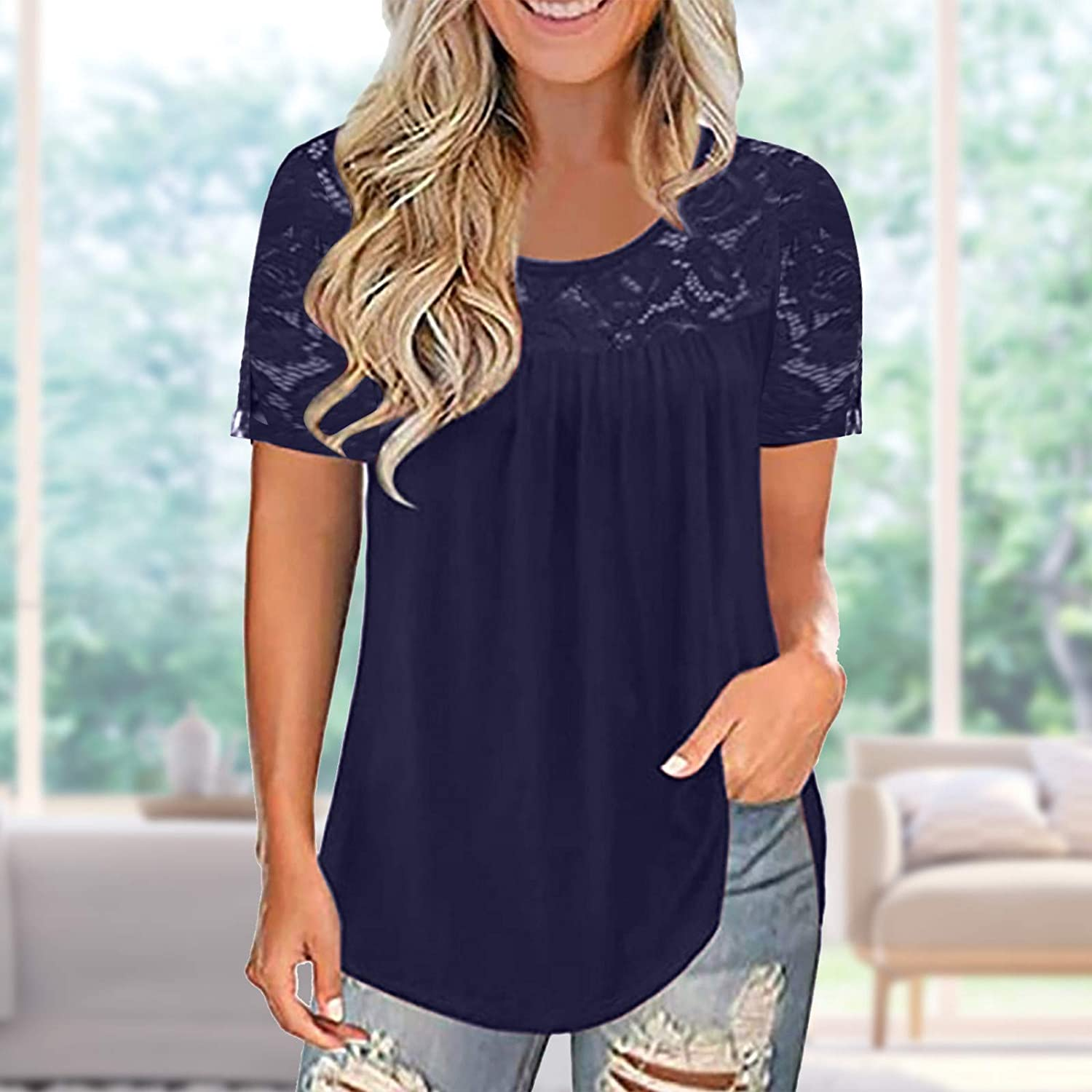 Workout Tops for Women,Tunics for Women to Wear with Leggings Short Sleeve Flowy Shirts Dandelion Cat Elephant Print Tops Plus Size.S-5XL Blue