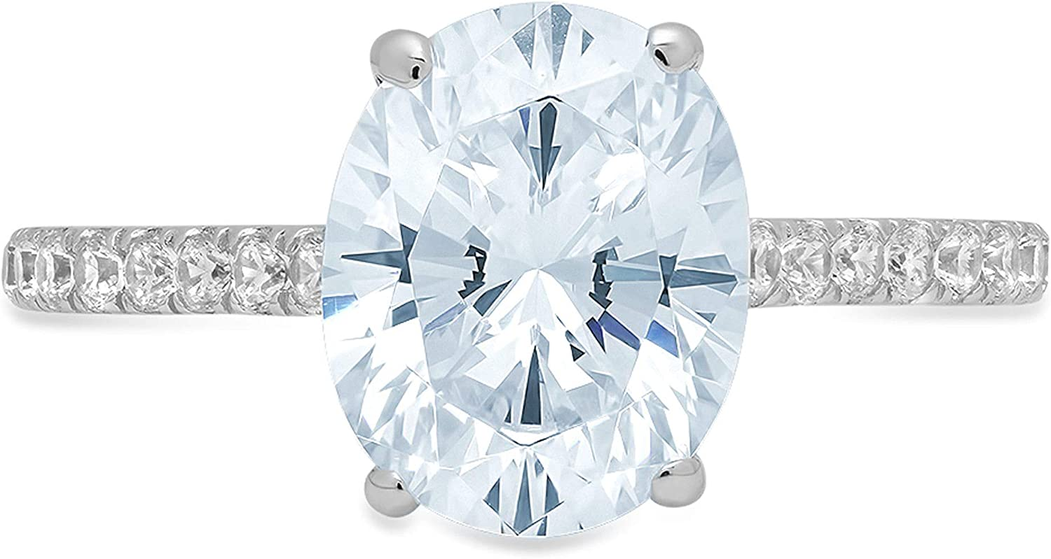 2.71ct Brilliant Oval Cut Solitaire with accent Natural Swiss Blue Topaz Gemstone Ideal VVS1 Engagement Promise Anniversary Bridal Wedding Ring Real 14k White Gold
