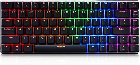 Ajazz AK33 Geek RGB Mechanical Keyboard, 82 Keys Layout, Black Switches, LED Backlit, Aluminum Portable Wired Gaming Keyboard, Pluggable Cable, for Games Work and Daily Use, Black
