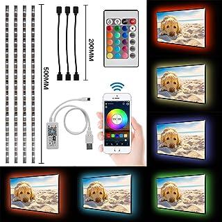 4x50cm Tira LED WiFi con alimentación USB Retroiluminación TV RGB 5050 impermeable para espejo gabinete Controlado por A...