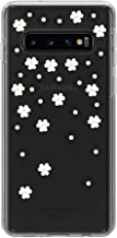 Kate Spade New York Phone Case | for Samsung Galaxy S10 | Protective Clear Crystal Hardshell Phone Cases with Slim Floral Design and Drop Protection - Scattered Flowers Black/White/Gems