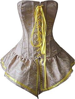 مشد علوي مثير من الدانتيل المزين بالزهور للنساء الخصر مشد الخصر مشد رفع ملابس داخلية البطن (اللون: أصفر، المقاس: متوسط)