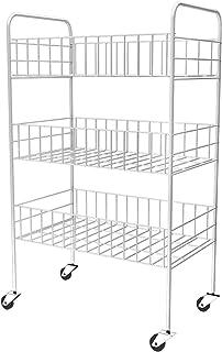 Vaxiuja 3段 カート メッシュ キャビネット バスルームワゴンカート キャスター付き キッチン収納ラック スーペスセービング 幅25×奥行35.5×高さ58cm ホワイト (三段)