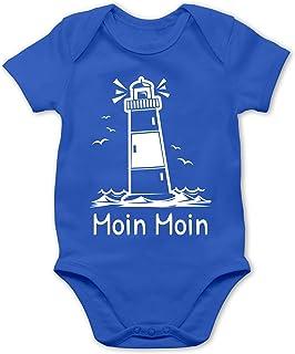 Shirtracer Sprüche Baby - Moin Moin - Leuchtturm - Baby Body Kurzarm für Jungen und Mädchen