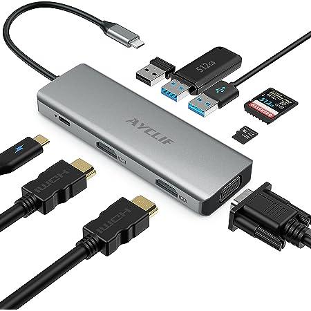 AYCLIF Hub USB C, USB C Docking Station 9 en 1, 2 4K HDMI, VGA, PD de 100 W, 3 lectores de tarjetas USB 3.0 y TF / SD para computadoras portátiles MacBook Pro Air y Type-C
