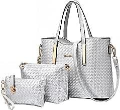 Vincico Women 3 Piece Tote Bag Pu Leather Weave Handbag Shoulder Purse Bags