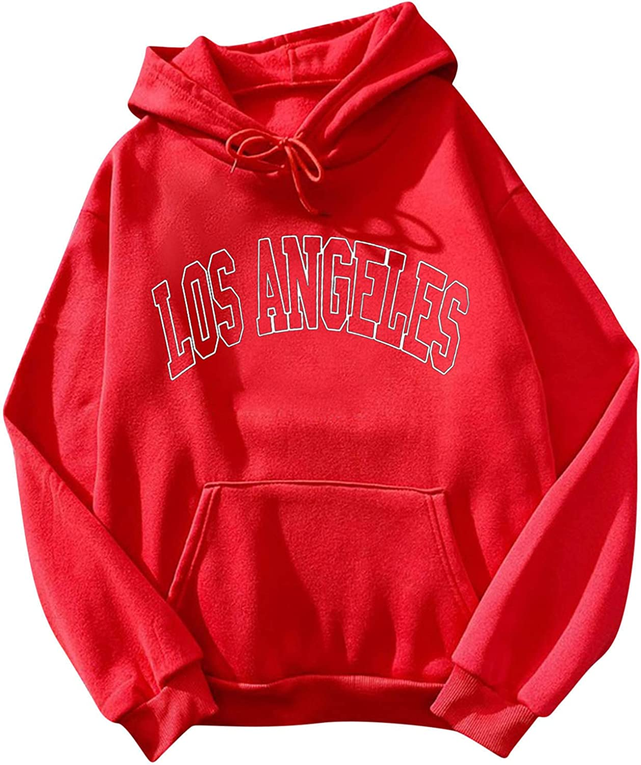 Plus Size Hoodies for Women Pullover,Women's Casual Los Angeles Printed Long Sleeve Hooded Sweatshirts with Pockets