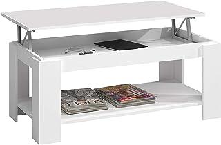 Mesa Centro con revistero, Mesa elevable, mesita Mueble Salon Comedor, Acabado en Blanco Artik, Medidas: 102 cm (Largo) x ...