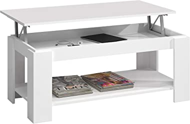 Mesa Centro con revistero, Mesa elevable, mesita Mueble Salon Comedor, Acabado en Blanco Artik, Medidas: 102 cm (Largo) x 43/