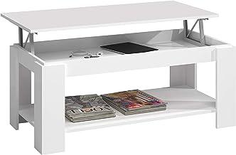 Habitdesign Mesa de Centro con revistero Incorporado, Blanco artik, 102 x 50 x 43/54 cm