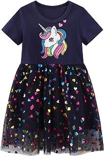 FILOWA Fille Robes Enfant Manche Courte Coton Ete Pas Cher Rayure Poche Paillette Tunique T-Shirt Robe Filles Anniversaire...
