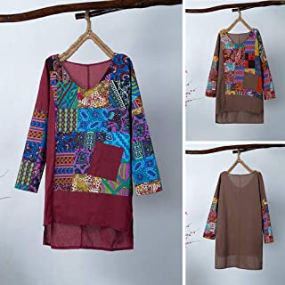 Tickas Loose Shirt,Women Long T-Shirt Vintage Splicing Multicolor Print with Pocket Long Sleeve O-Neck Plus Size 5XL Women Tops Casual