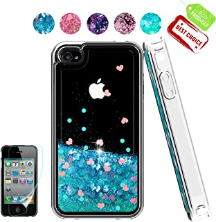 iPhone 4 Case,Apple iPhone 4 4S Case, Atump Glitter Flowing Liquid Floating Protective Shockproof Clear TPU Girls Cover Case for Apple iPhone 4/4S Blue
