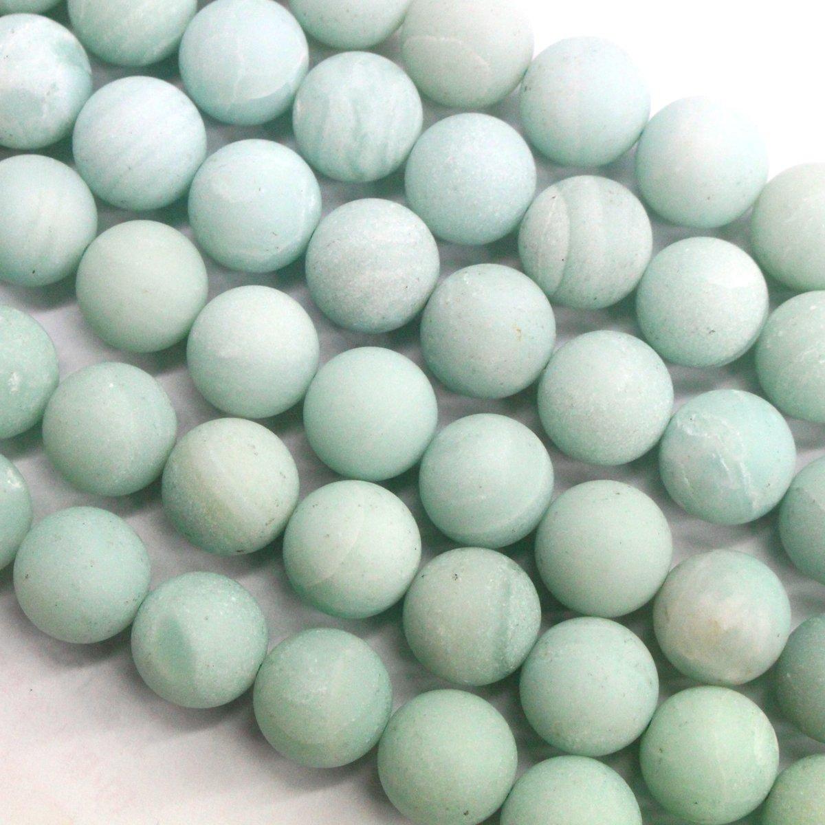 Natural Genuine Amazonite Unpolished Matte Round Real Gemstone Jewelry Making Loose Beads (12mm)