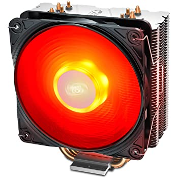 DEEP COOL GAMMAXX400V2 Red CPU Air Cooler with 4 Heatpipes, 120mm PWM Fan and Red LED for Intel/AMD CPUs (AM4 Compatible) (DP-MCH4-GMX400V2-RD)