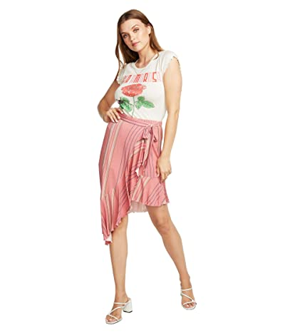 Chaser Cool Jersey Flamenco Skirt (Pink Stripe) Women