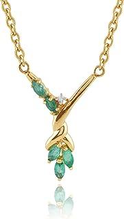 9ct Yellow Gold Emerald & Diamond Necklace