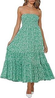 Women's Summer Bohemian Floral Printed Strapless Beach Party Long Maxi Dress