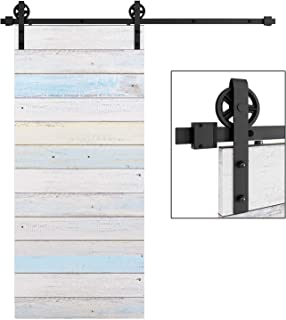 EaseLife 6 FT Heavy Duty Big Wheel Sliding Barn Door Hardware Track Kit,Ultra Hard Sturdy,Slide Smoothly Quietly,Easy Install,Fit 30