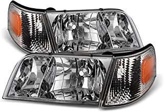 VIPMOTOZ Chrome Housing OE-Style Headlight & Turn Signal Side Marker Lamp Assembly For 1998-2011 Ford Crown Victoria, Driver & Passenger Side