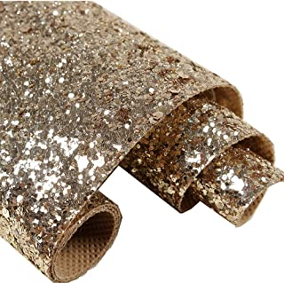 Chunky Glitter Wallpaper, 3D Sparkly Glitter Fabric Wall Paper, 27in by 197in Bling Wallcovering. (Champagne Gold)