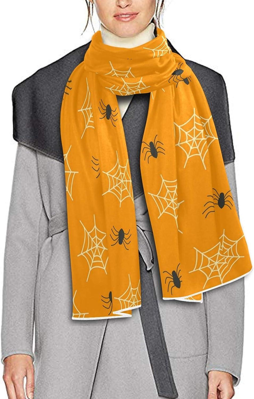 Scarf for Women and Men Halloween Spider Web Orange Blanket Shawl Scarves Wraps Thick Soft Winter Oversized Scarf Lightweight