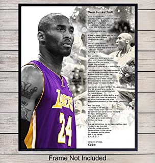 Kobe Bryant Dear Basketball Poem Wall Art - 8x10 Photo Poster - Home Decor, Room Decoration for Boys, Teens Bedroom - Gift for Hoops Team Coach, LA Lakers Fan, Man, Men, Husband, Him - Unframed Print