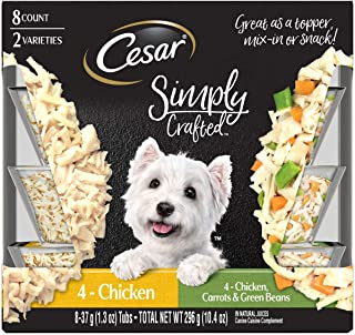 Cesar 1-8 Count 2-Varieties Simply Crafted 4-Chicken & 4-Chicken,Carrots & Green Beans
